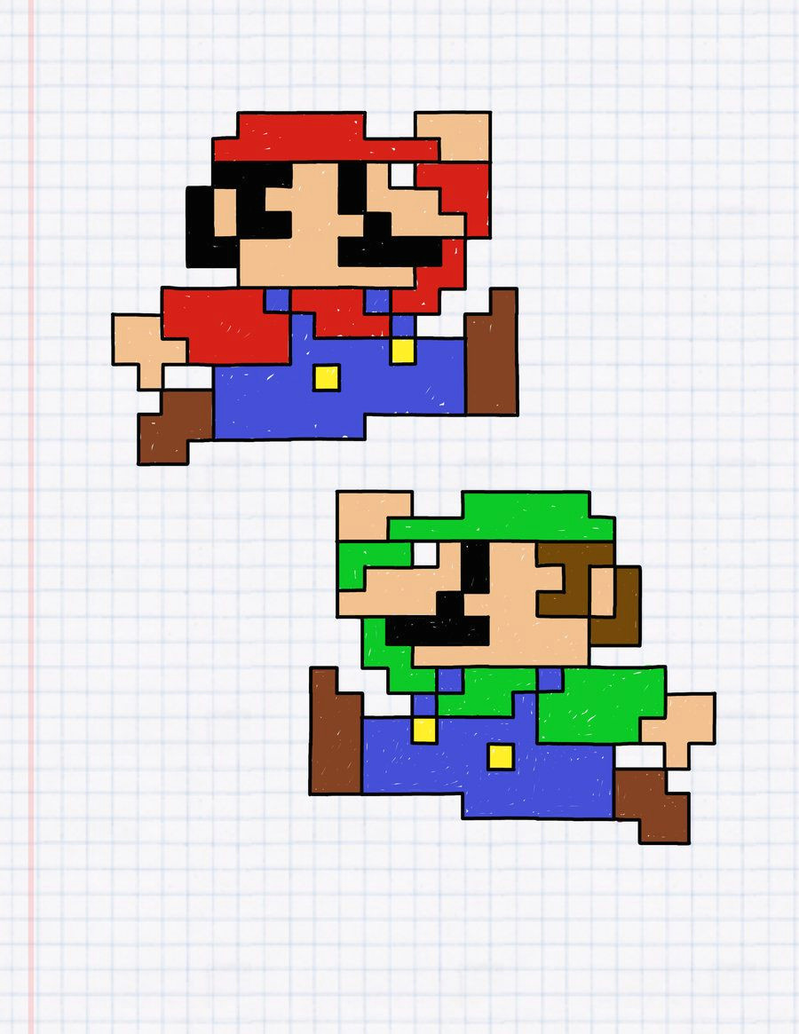 i don t even know why mario always pops into my mind when i draw things on graph paper and then luigi comes right after henrick dulin mario and luigi