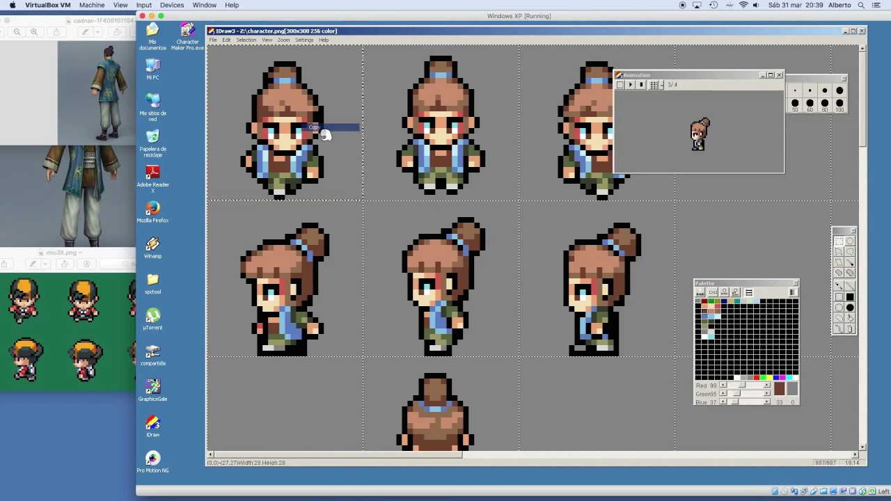 pixel art timelapse chibi character animation in 4 directions