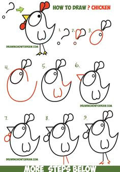 how to draw a cartoon chicken rooster from and shapes easy step by step drawing tutorial for kids