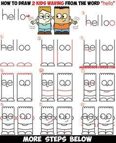 learn how to draw 2 cartoon characters from the word hello easy step by