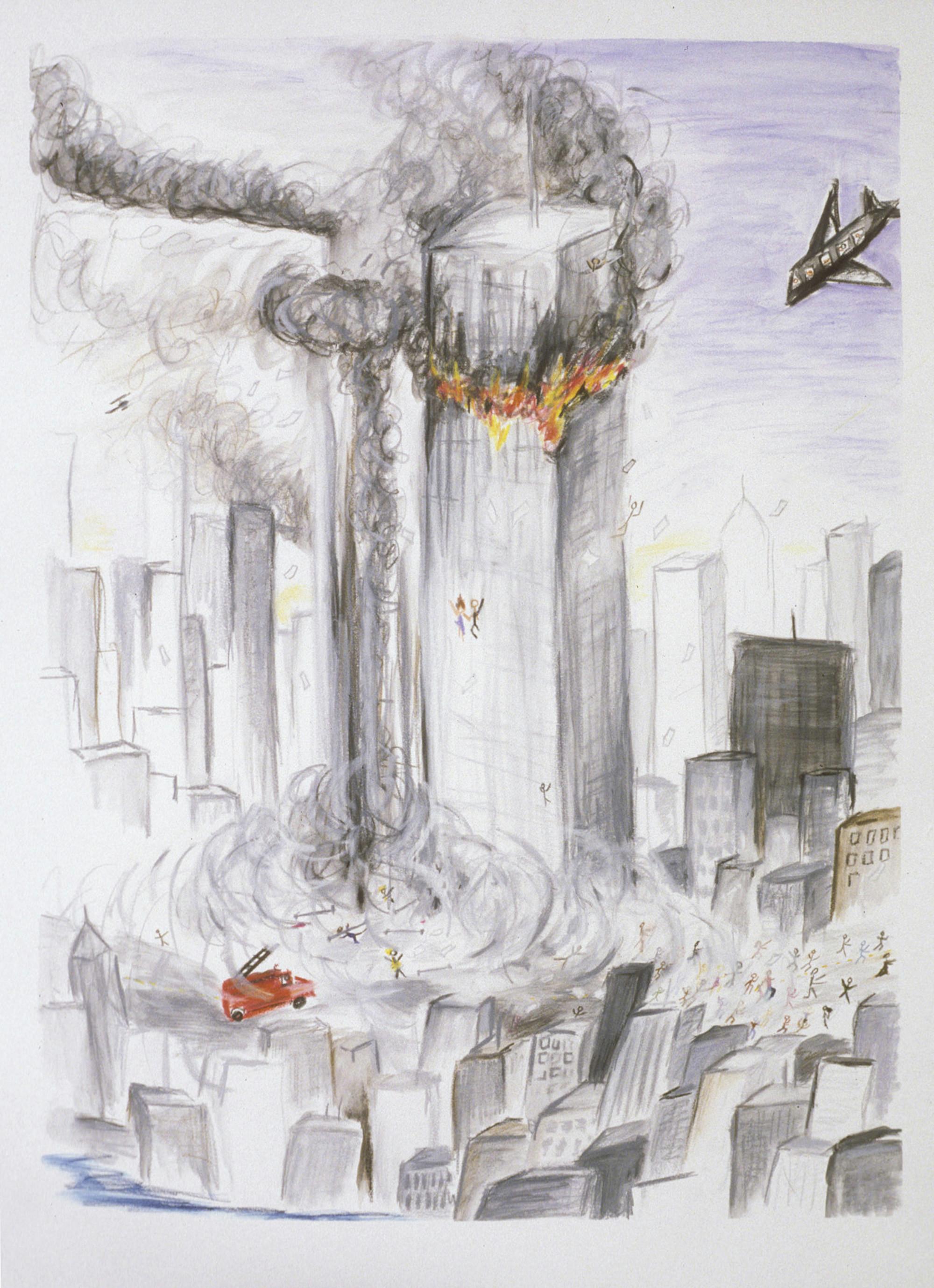 watercolor crayon 9 11 2001
