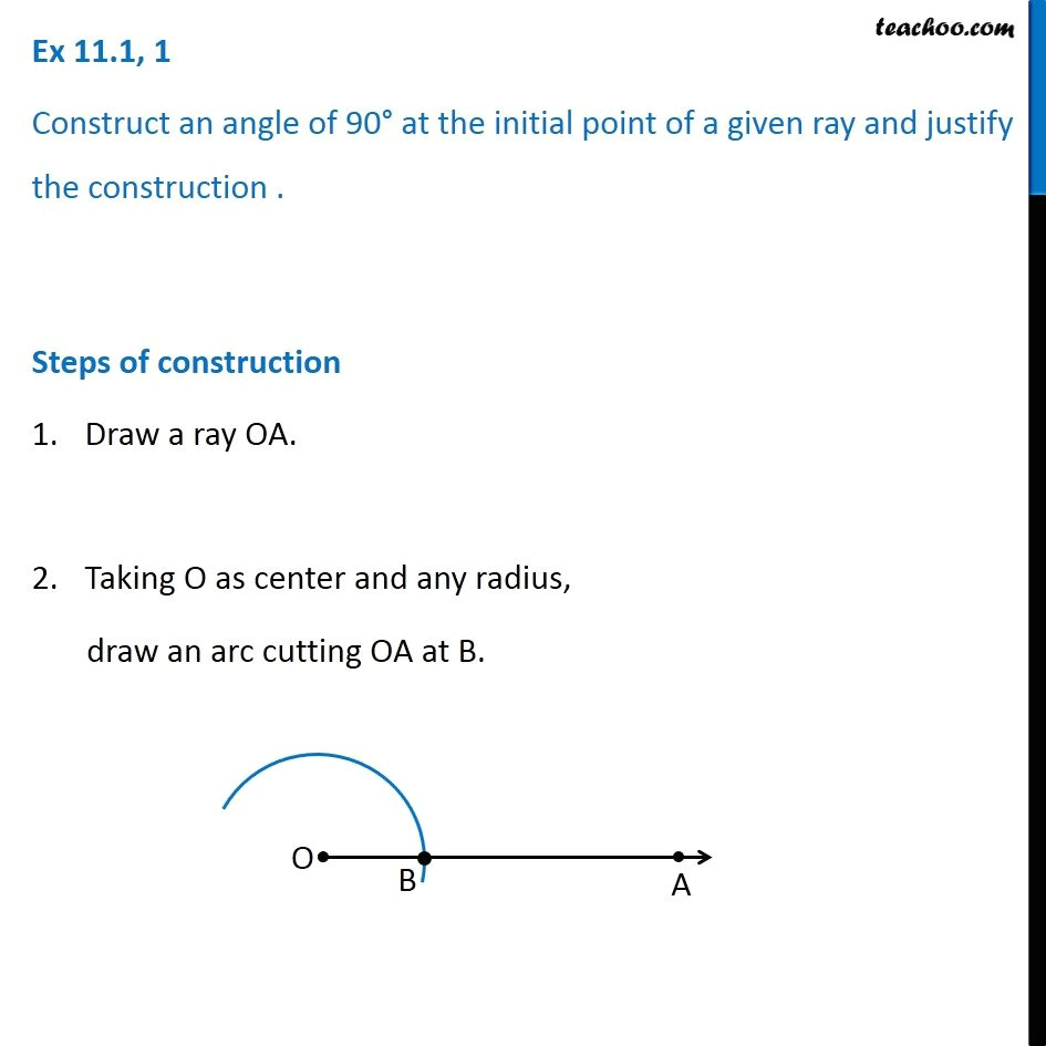 Drawing 90 Degree Angle with Compass Ex 11 1 1 Construct Angle 90 Degree Chapter 11 Class 9