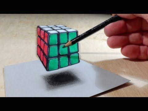 anamorphic illusion drawing levitating 3d rubik s cube time lapse youtube
