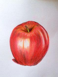 let s draw a realistic apple colour pencil shading landscape pencil drawings sketch 2