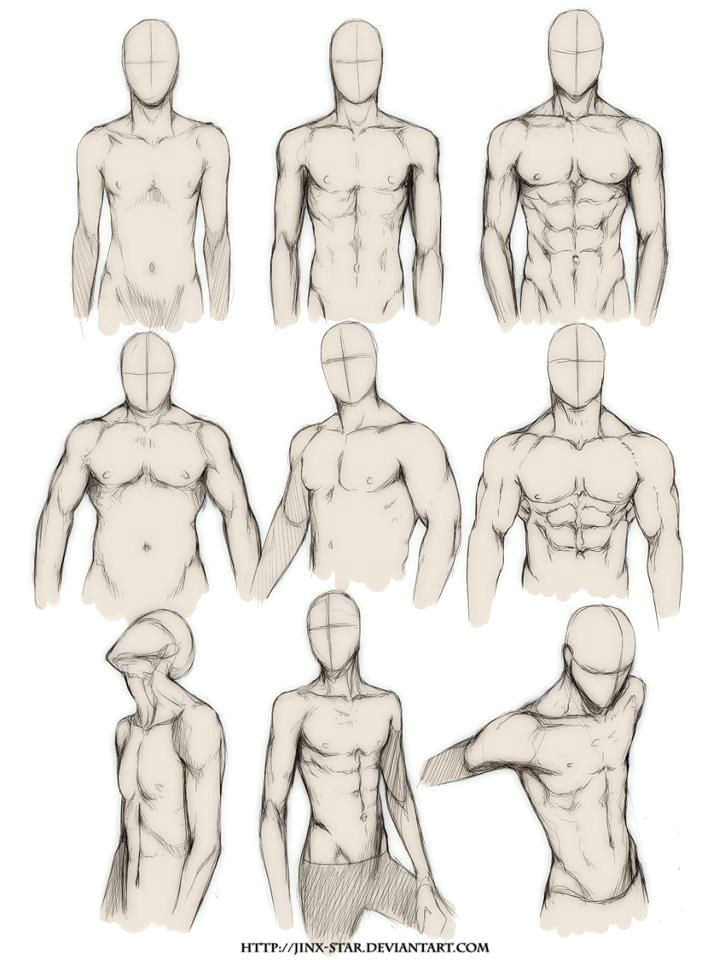how to draw the human body study male body types comic manga character reference