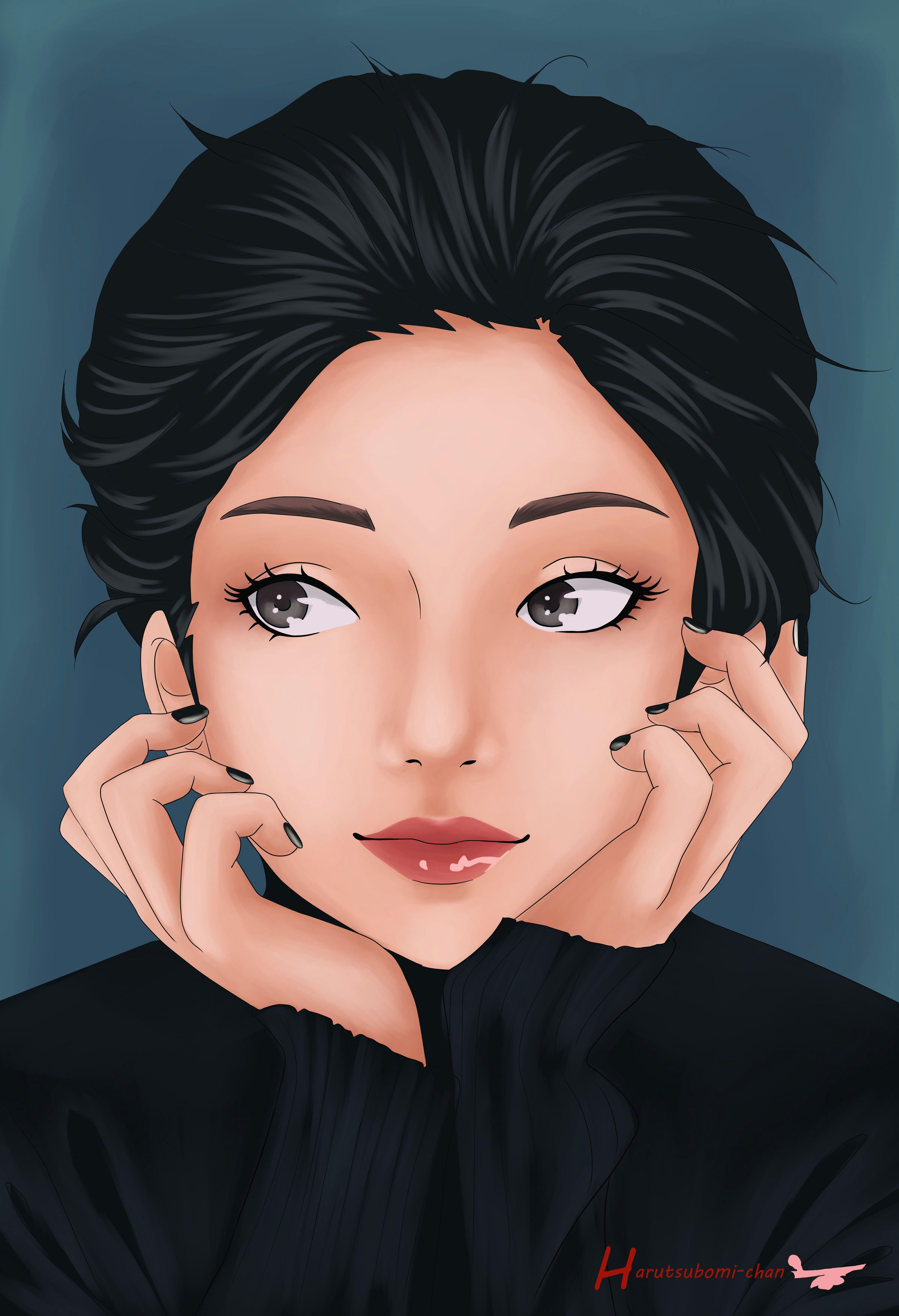 anime manga portrait girl cute drawing black eyes