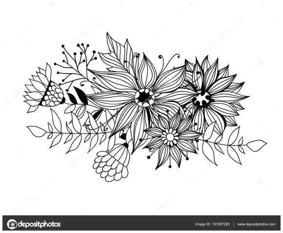 drawing flowers step by step for beginners new feuilles et fleurs de doodle bouquet od