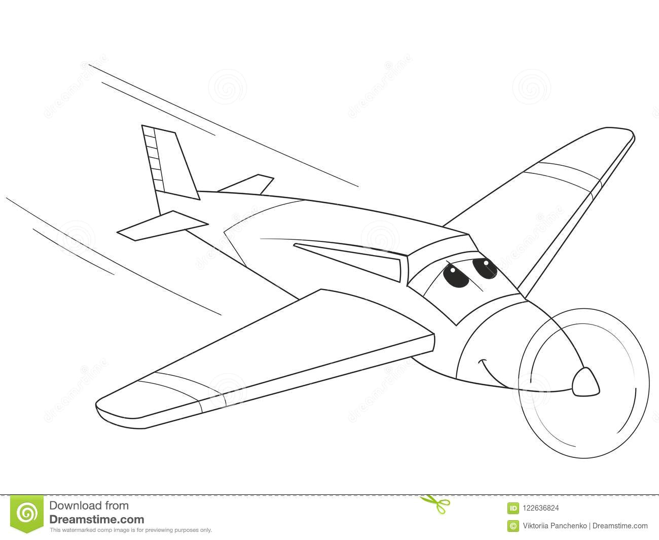 Drawing A Cartoon Airplane Cartoon Coloring Plane with Faces Live Transport Stock