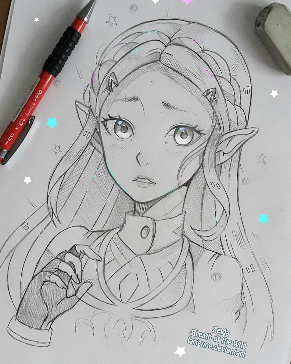 breath of the wild anime girl drawings manga drawing cool drawings pencil drawings
