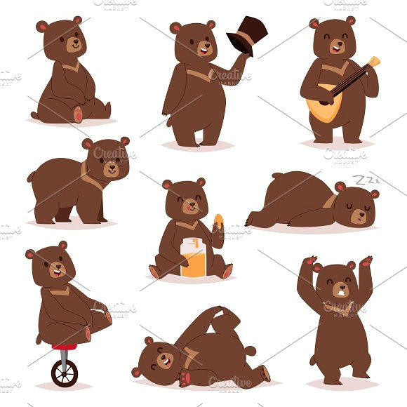 cartoon bear vector set by vectorstockerland on creativemarket