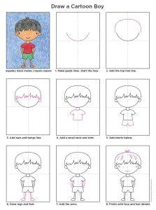 draw a cartoon boy a art projects for kids