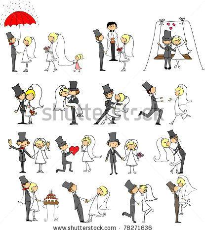 wedding doodle set of bride and groom stock vector