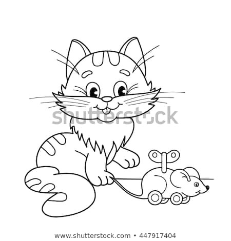 coloring page outline of cartoon cat with toy clockwork mouse coloring book for kids