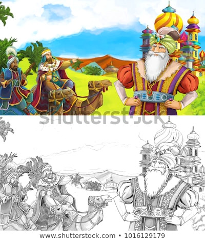 cartoon scene with happy king od prince near the castle looking around two travelers on