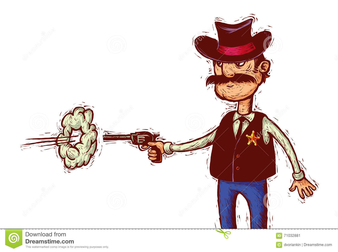 cartoon sheriff with cowboy hat fires his gun linocut style