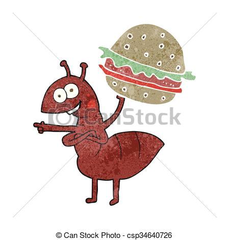 retro cartoon ant carrying food csp34640726