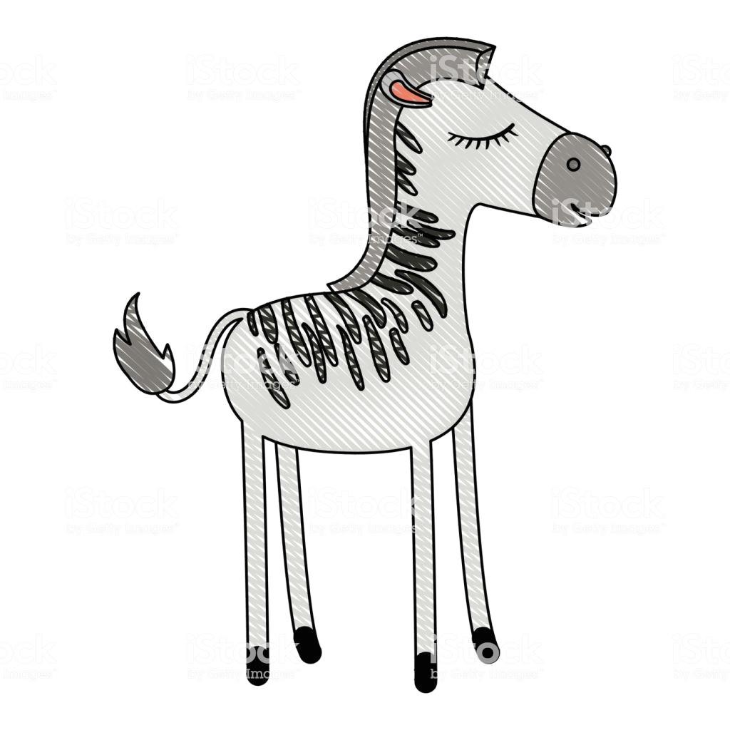 weibliche zebra cartoon mit geschlossenen augen ausdruck farbige kreide silhouette lizenzfreies weibliche zebra cartoon mit geschlossenen