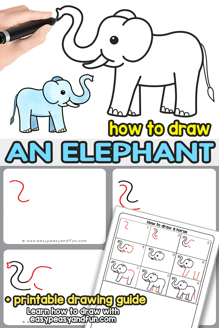 how to draw an elephant a step by step elephant drawing tutorial and directed