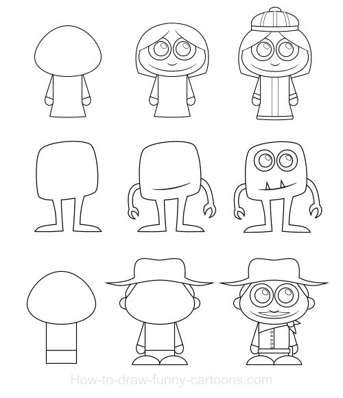 learn how to draw cartoon characters that are cute and made from simple basic elements