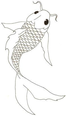 koi fish free lineart
