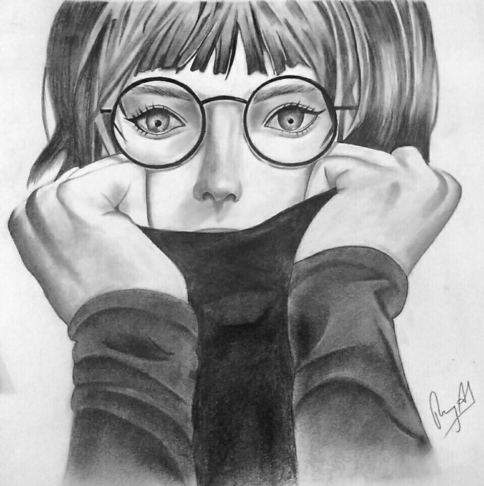 half face girl sketch