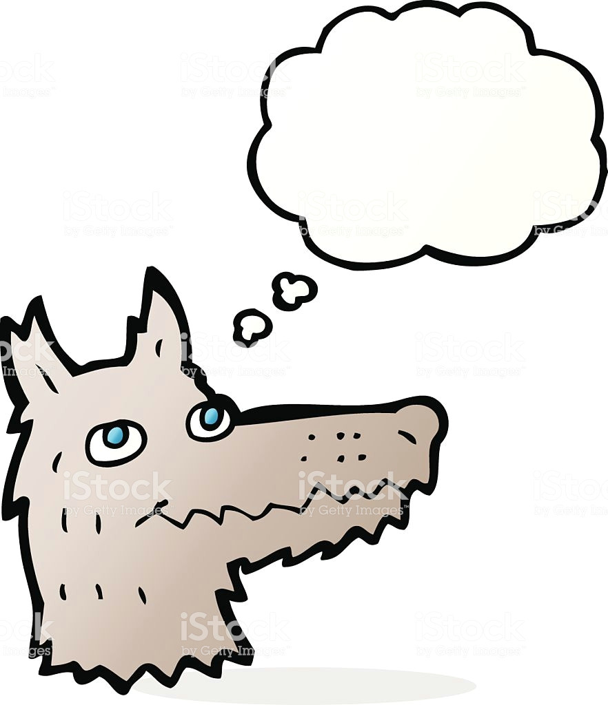 cartoon wolf head with thought bubble illustration