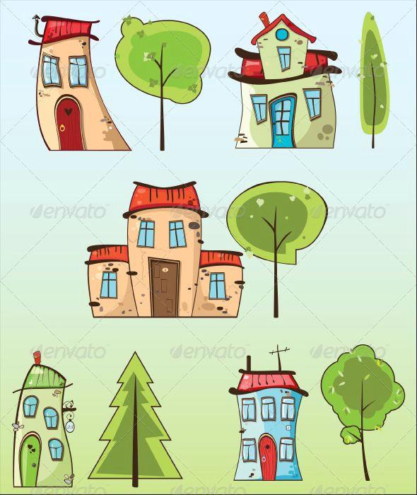 cartoon houses and trees ecommerce trees cartoon house templates sketches tree