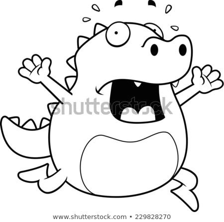 a cartoon lizard running in a panic
