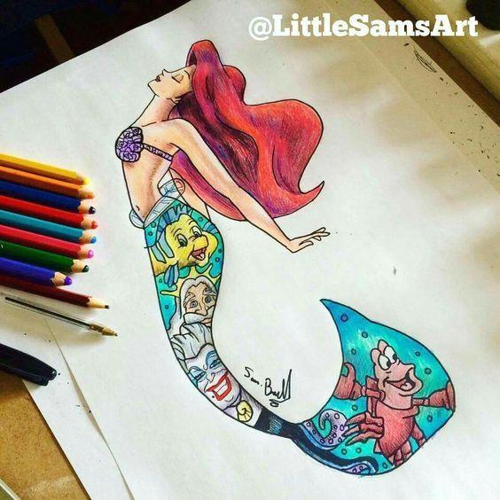 little mermaid under water drawings of cartoons drawings of disney princesses drawings of mermaids