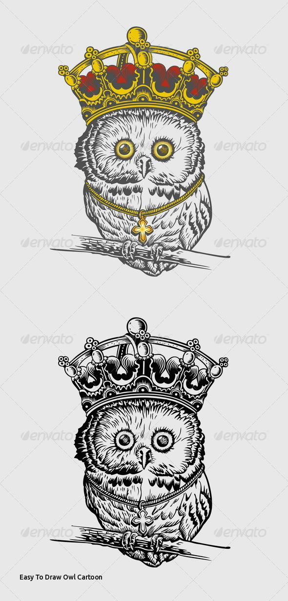 easy to draw owl cartoon the king owl hand drawing by icvector703 of easy to draw