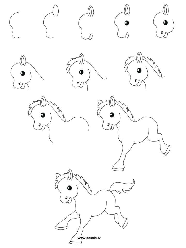 h easy drawings easy drawing designs easy cartoon drawings horse cartoon drawing