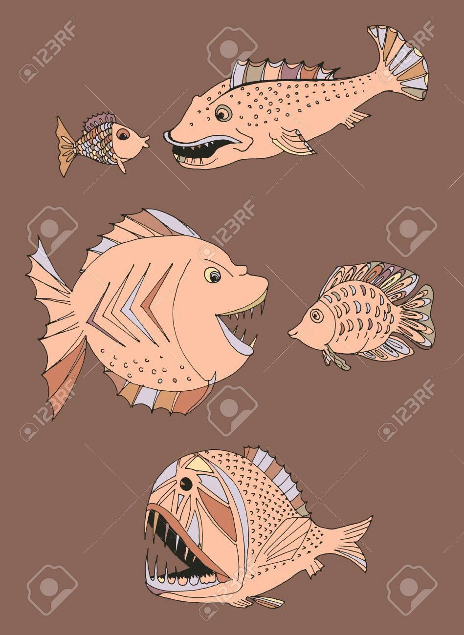 beangstigende fische handgemalt lizenzfrei nutzbare vektorgrafiken clip arts illustrationen image 61119342