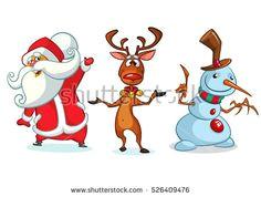 christmas cartoon characters set vector illustration of christmas reindeer snowman and santa claus