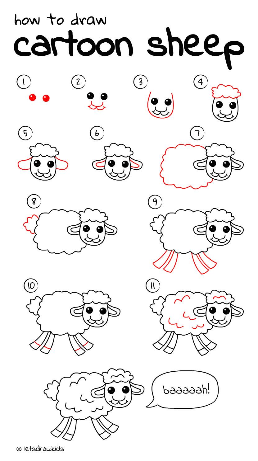 Drawing A Cartoon Sheep Pin by Nafas On Drawings Drawings Cartoon Drawings Easy Drawings