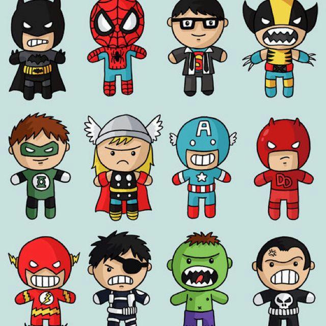 cute superheroes drawing