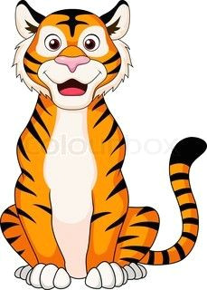 cute tiger cartoon sitting tiger cartoon drawing tiger vector tiger illustration drawing for