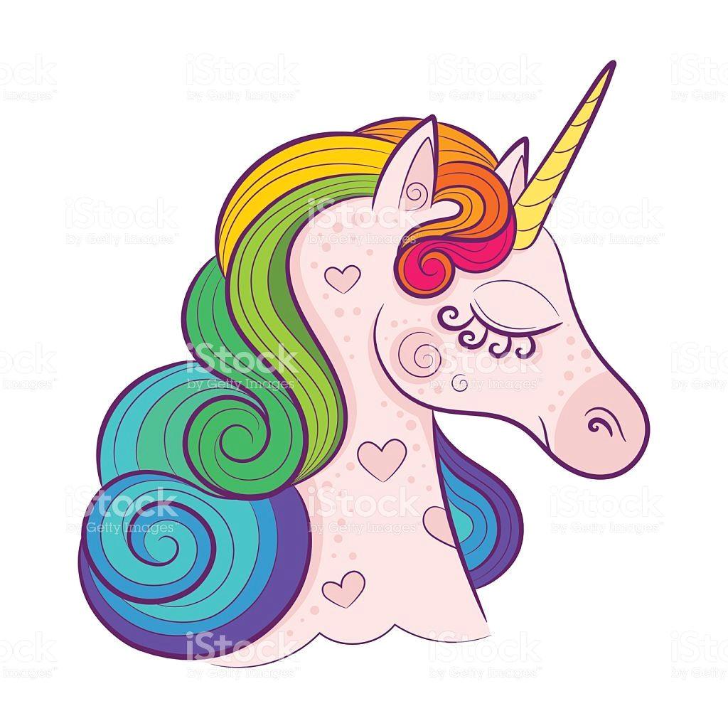 head of cute white unicorn with rainbow mane