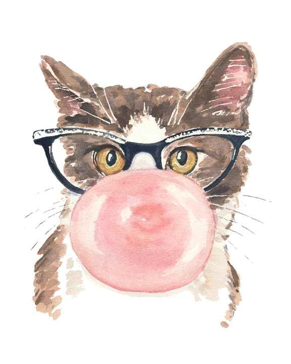 cat watercolor print 8x10 painting bubble gum cat eye glasses funny watercolor