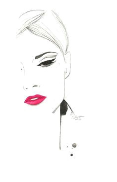print from original watercolor and pen fashion illustration by jessica durrant titled the cat s eye 26 00 via etsy