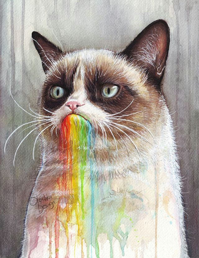 grumpy cat tastes the rainbow a painting by olechka