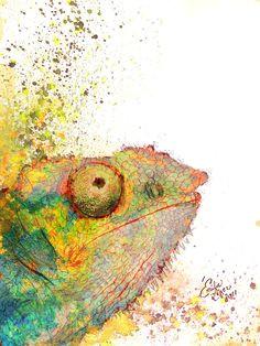 chameleon watercolor karma chameleon chameleon lizard veiled chameleon reptiles lizards