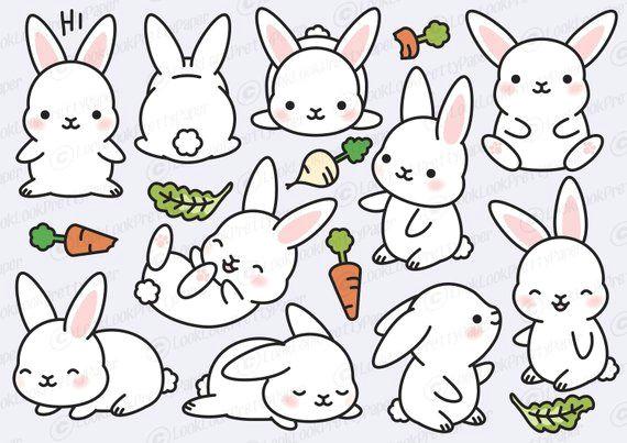 premium vector clipart kawaii bunny cute bunny clipart set high quality vectors instant down