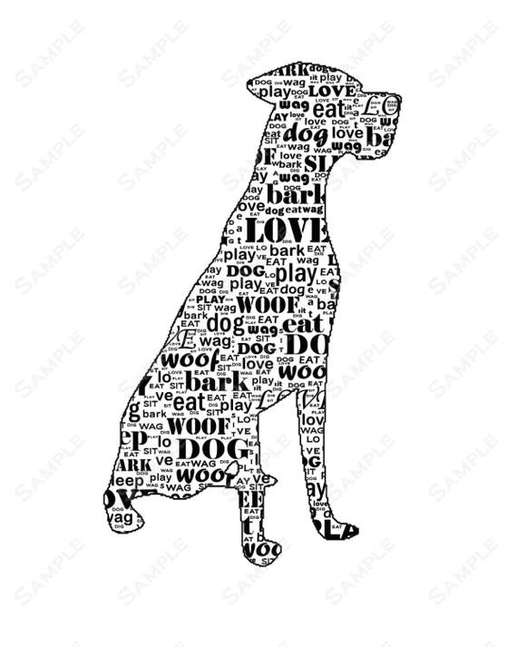 personalized great dane dog great dane silhouette word art 8 x 10 print great dane dog pet gifts