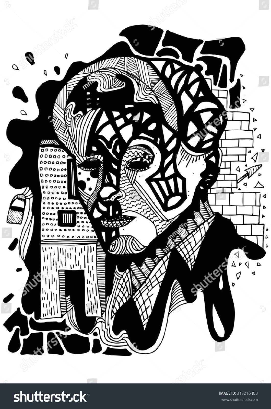 abstract abstraction art arts man men black white drawing drawings sketch sketches illustration illustrations city building