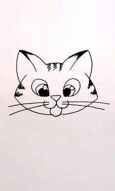 drawing a cartoon tabby cat face cat face drawing drawing art drawing stuff