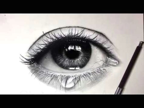 tutorial how to draw shade a realistic eye and teardrop with graphite pencils emmy kalia youtube