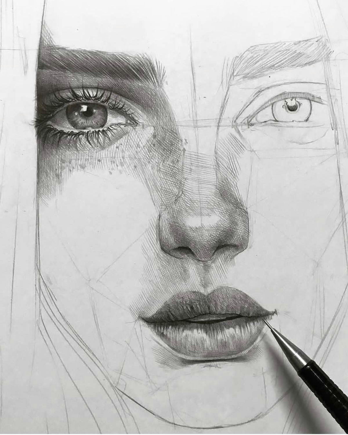 amazing art by maloart sketch eye pencil drawing portrait