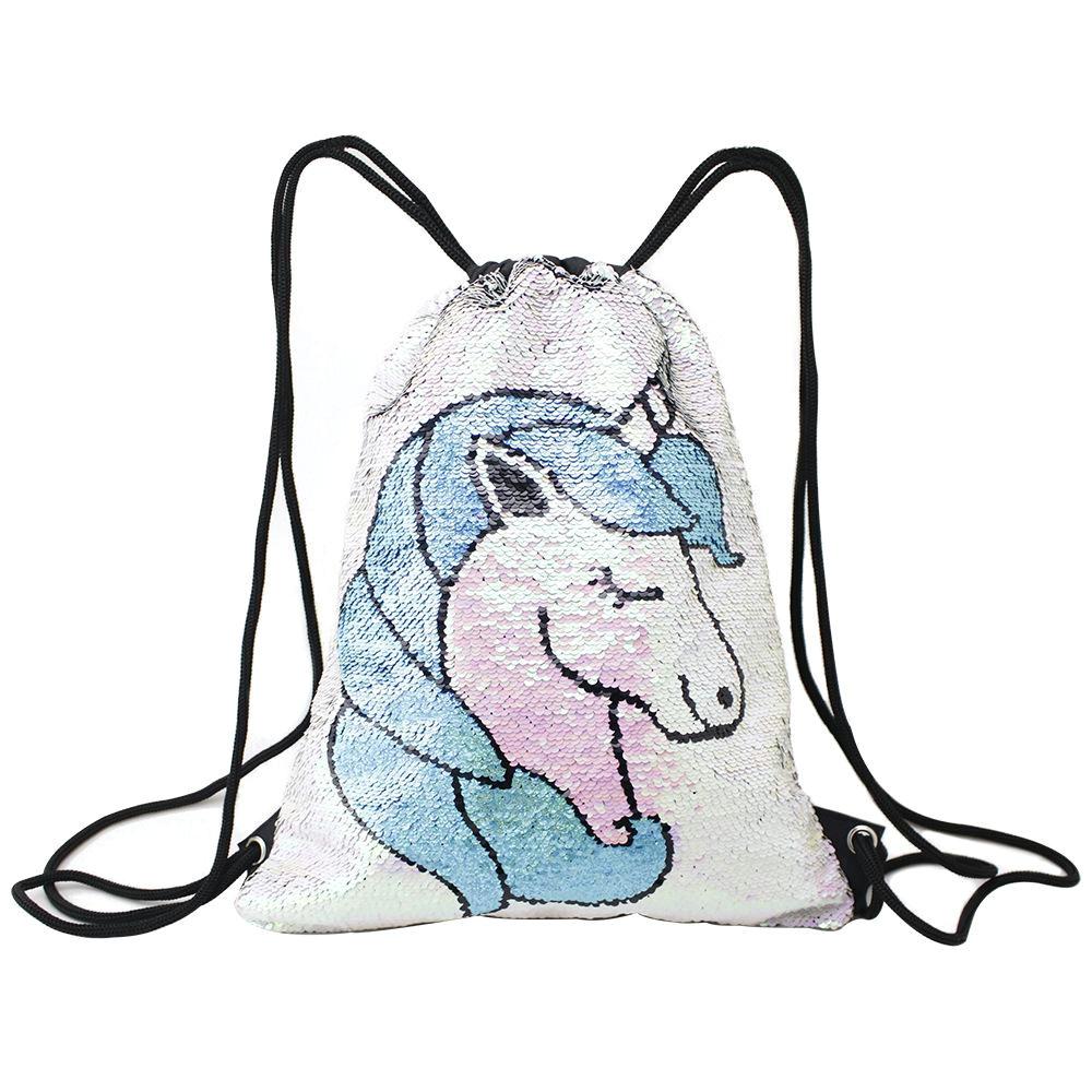 2019 unicorn heart pineapple flamingos sequin backpack drawstring bag for girl school bag mermaid draw string christmas bags 10 style 42x33cm from