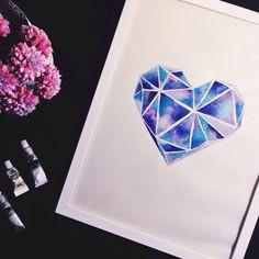 watercolor love heart geometrical galaxy inspired watercolor heart geometric watercolor tattoo geometric drawing