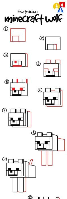 learn how to draw a minecraft wolf minecraft wolf minecraft art art for